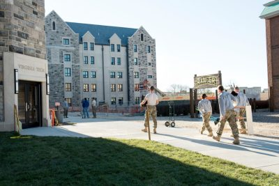 Cadets outside Pearson Hall