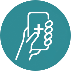 An icon of a hand on a cellphone with a plus health symbol on the screen of the phone.